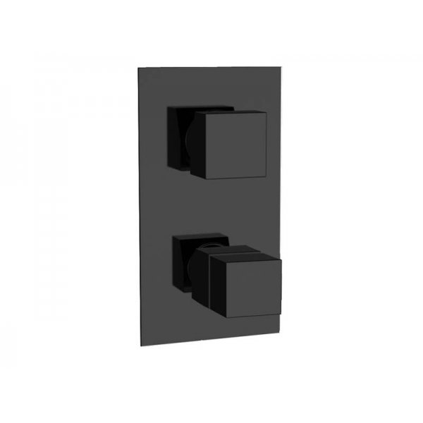 Baterie QUADRO BLACK podomítková termostatická, 3 funkce