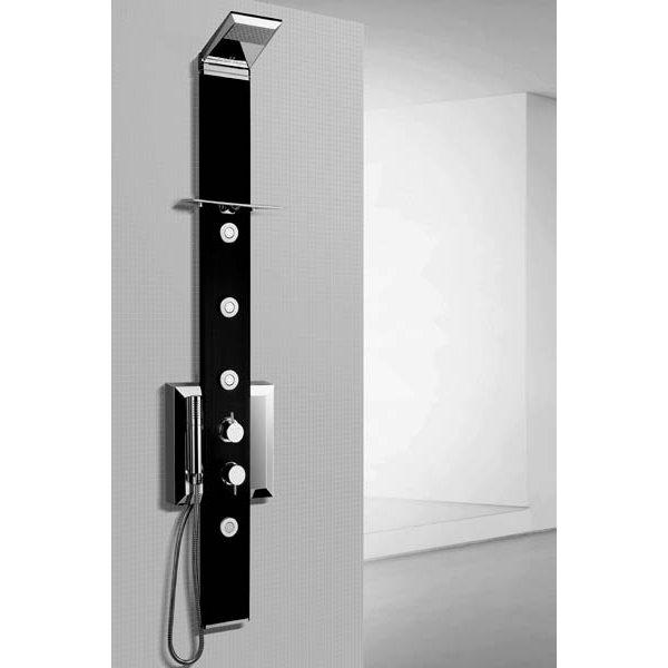 PRISMA BLACK, sprchový panel rohový, termostatická baterie