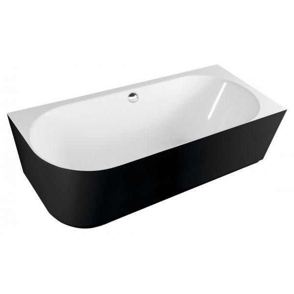 SUSSI L volně stojící vana litý mramor 160x70x49,5cm, černá/bílá