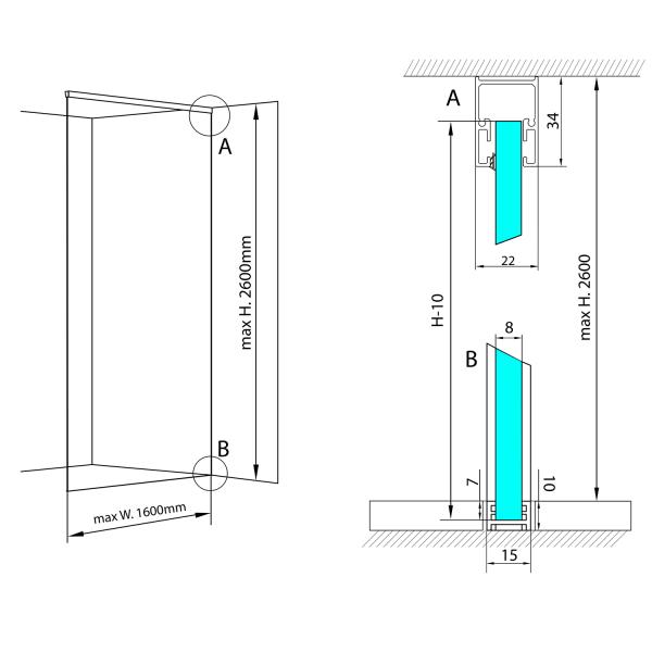 Sada pro uchycení skla ARCHITEX LINE podlaha-stěna-strop, šíře 160 cm