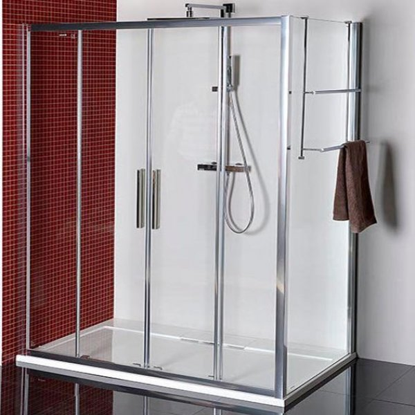 Zástěna LUCIS LINE 150x80 cm (posuvné dveře 4-dílné + boční stěna)