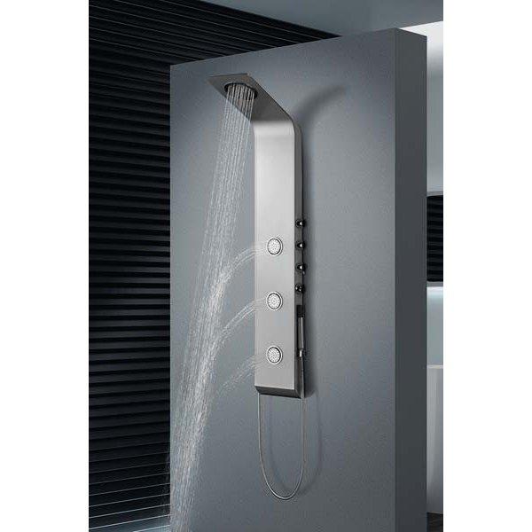 LETE sprchový panel s pákovou baterií, stříbrnou