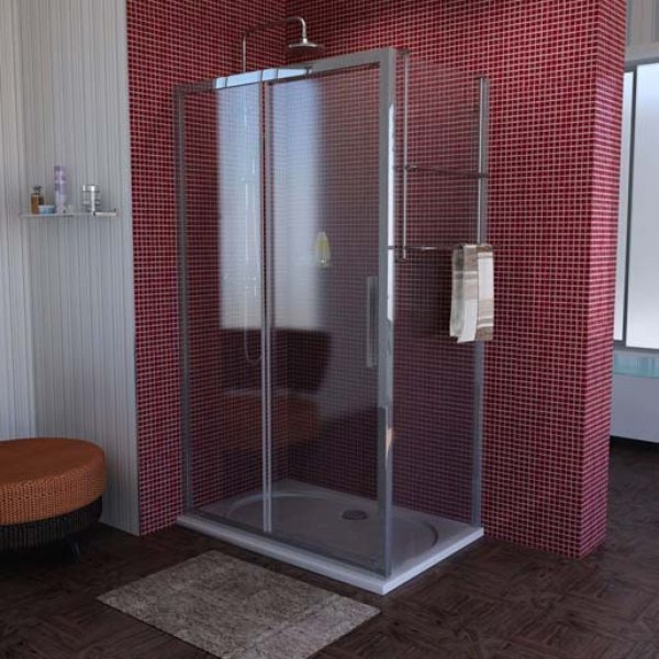 Obdélníková zástěna LUCIS LINE 120x80 cm (posuvné dveře + boční stěna)