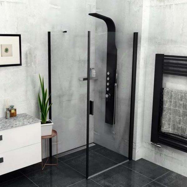 Obdélníková zástěna ZOOM LINE BLACK 80x90 cm (otočné dveře + boční stěna)
