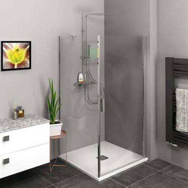 Obdélníková zástěna ZOOM LINE 90x100 cm (otočné dveře + boční stěna)
