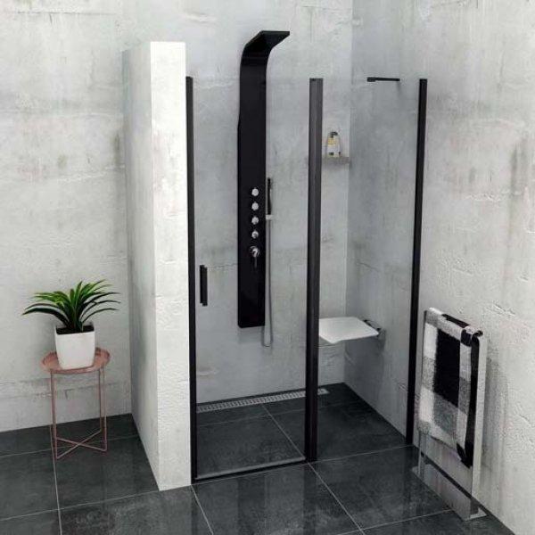 Otočné dveře do niky s pevnou stěnou ZOOM LINE BLACK 140 cm