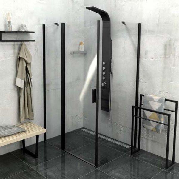 Obdélníková zástěna ZOOM LINE BLACK 140x80 cm (otočné dveře s pevnou stěnou + boční stěna)